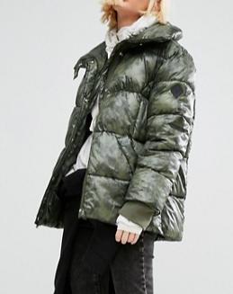 Puffa Oversized Padded Jacket In Angular Camo