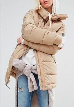 Puffa Oversized Longline Padded Jacket With Fishtail Detail