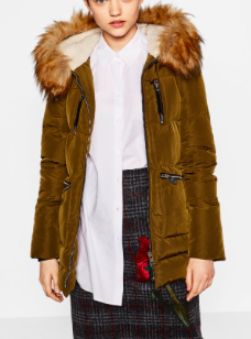 QUILTED FEATHER DOWN COAT WITH FAUX FUR