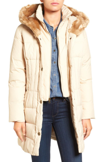 Quilted Down & Feather Fill Coat with Faux Fur Trim Hood  LARRY LEVINE