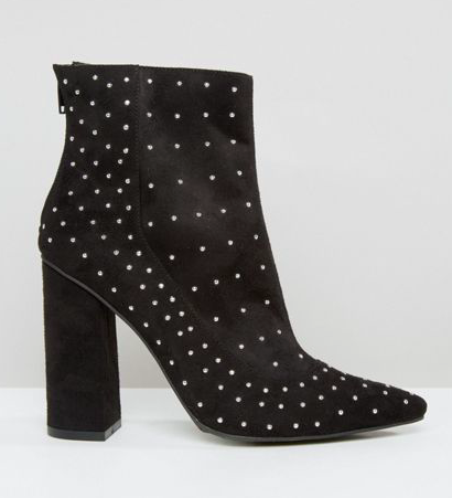 Missguided Studded Pointed Toe Heeled Ankle Boots
