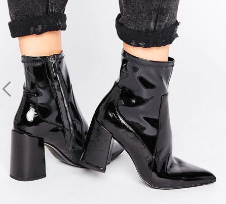 Mango Patent Point Block Heel Ankle Boot