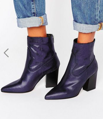 ASOS ENZU Leather Pointed Western Boots
