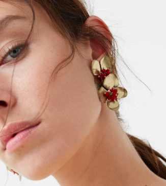 Mango floral statement earrings