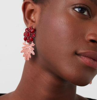Mango pink floral earrings