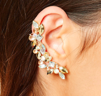 Forever 21 Rhinestone Leaf Ear Cuff Set