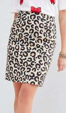 Love Moschino Animal Print Pencil Skirt
