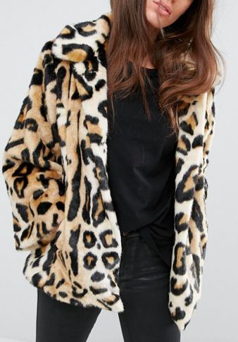 ASOS Swing Coat in Leopard Faux Fur