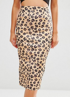 ASOS Scuba Pencil Skirt in Leopard Print