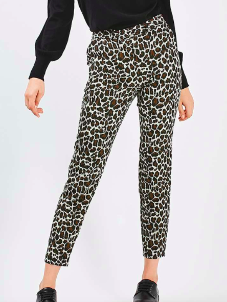 Animal Jaquard Print Cigarette Pants