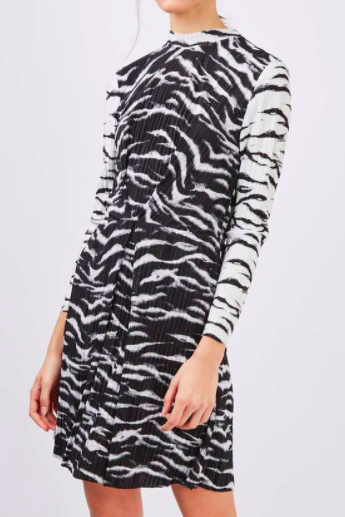Topshop Zebra Plisse Dress