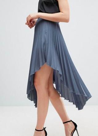 ASOS Hanky Hem Pleated Midi Skirt