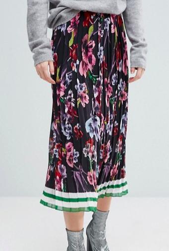 ASOS Pleated Midi Skirt in Border Print