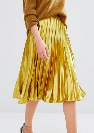 Boohoo Satin Pleated Midi Skirt