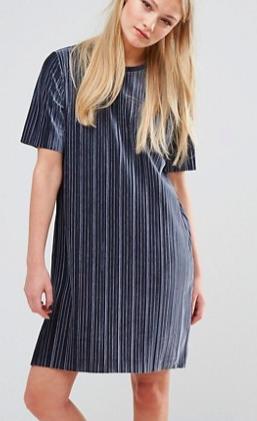 Vila Velvet Pleated Shift Dress