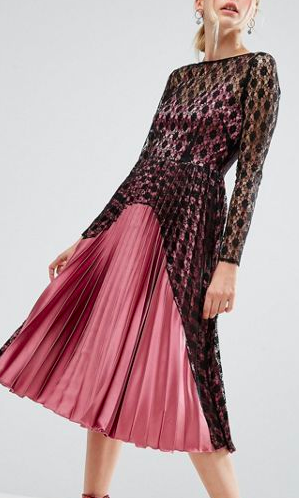 ASOS Contrast Lace And Pleat Midi Dress in Satin