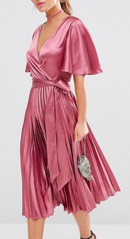 ASOS PETITE ASOS Pleated Satin Caftan Midi Dress