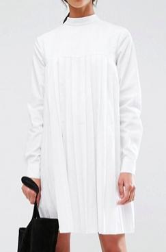 ASOS TALL Long Sleeve Cotton Pleated Dress