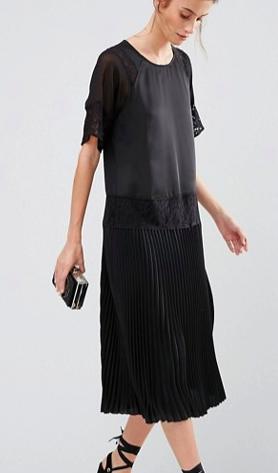 Warehouse Lace Insert Midi Dress With Pleated Hem