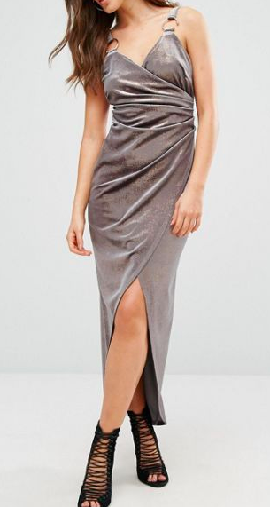 River Island Crushed Velvet Wrap Dress