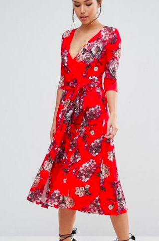 ASOS Crepe Midi Dress in Floral Print