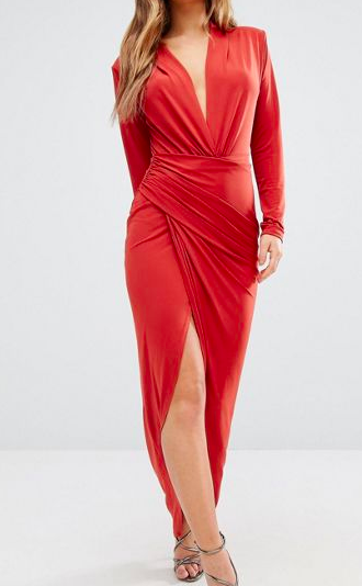 John Zack Petite Wrap Front Maxi Dress
