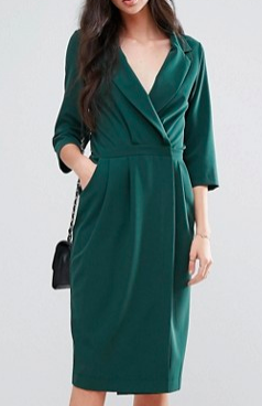 Alter Tall 3/4 Sleeve Wrap Front Dress With Lapels