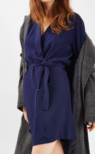 Topshop Dot Jacquard Wrap Dress