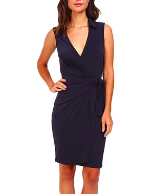 Christin Michaels Gracy Sleeveless Wrap Dress with Collar