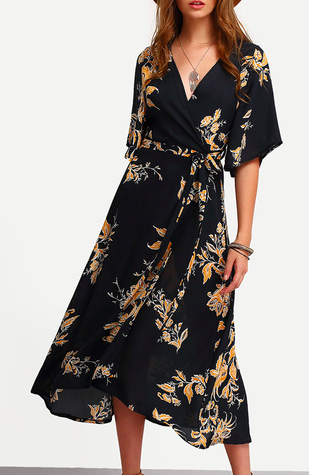 ROMWE V Neck Florals Wrap Dress