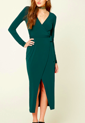 FOREVER 21 Wrap Front Maxi Dress