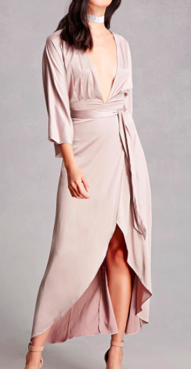 FOREVER 21 Satin High-Low Wrap Dress