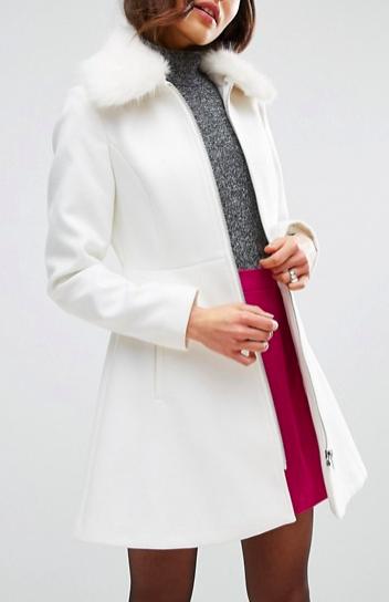 ASOS Skater Coat with Faux Fur Collar