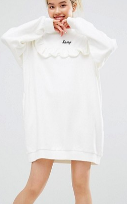 Lazy Oaf Mono High Neck Frill Sweat Dress With Front Lazy Slogan