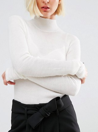Selected Long Sleeve Knit Rib Turtleneck