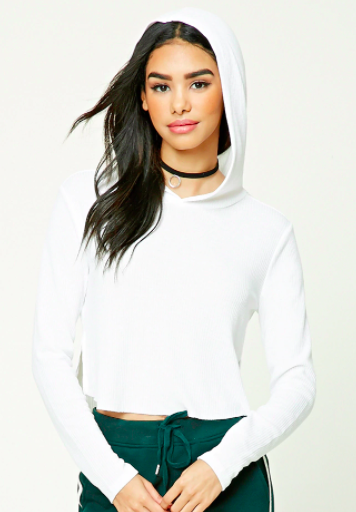 Forever 21 Ribbed Raw-Cut Hooded Crop Top