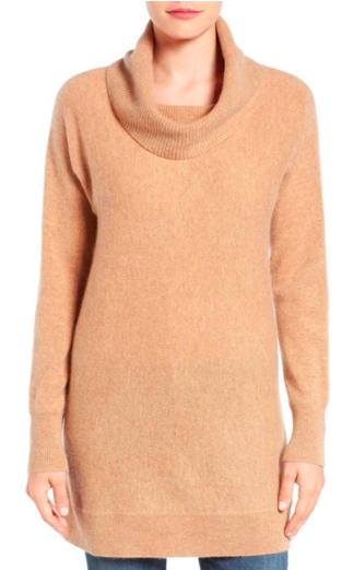 Halogen® Cowl Neck Cashmere Tunic