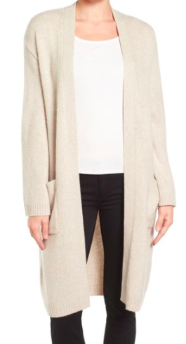 Emerson Rose Open Front Long Cashmere Cardigan