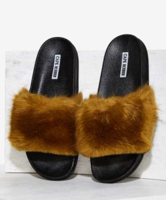Easy Touch Faux Fur Slide Sandal - Olive