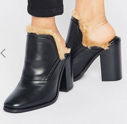 Sol Sana Fever Faux Fur Leather Heeled Mules