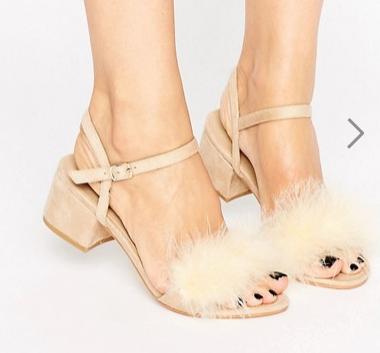 Boohoo Fluffy Trim Block Heel