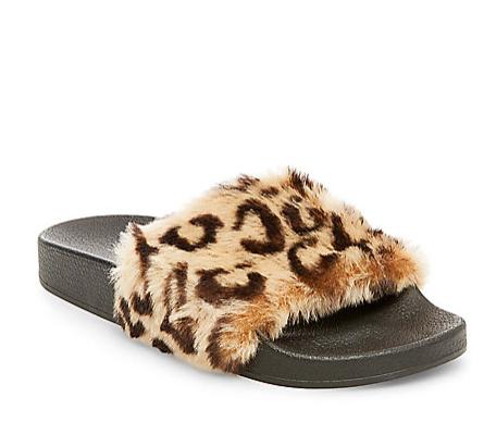 Steve madden leopard fur slides