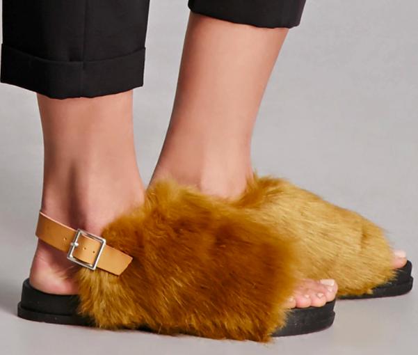 Forever 21 Faux Fur Sandals