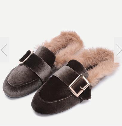 Brown Velvet Buckled Faux Fur Embellished Flats