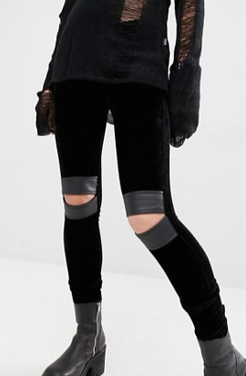 Tripp NYC Velvet Leggings with Cut Out Knees