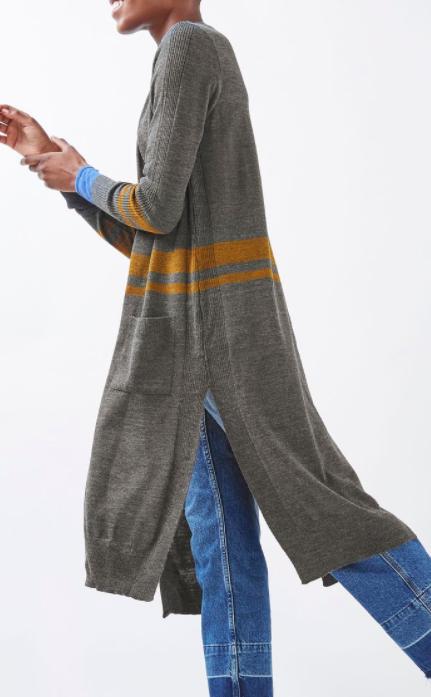 Topshop Longline Stripe Cardigan