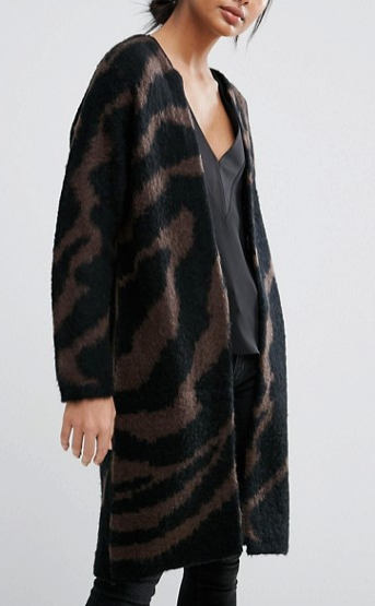 Selected Femme Knit Cardigan In Zebra Print