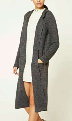 Forever 21 Hooded Duster Cardigan