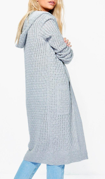 Boohoo Jennifer Hooded Cable Midi Cardigan