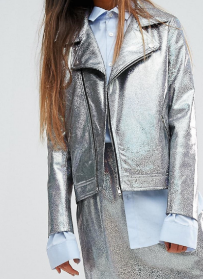 Mad But Magic Biker Jacket In Holographic Co-Ord